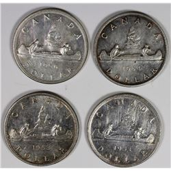 CANADIAN SILVER DOLLARS: 1954, 1956 AND (2) 1953