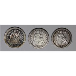 SEATED DIMES: 1843 G-VG, 1845 FINE AND 1845-O VG