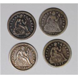SEATED DIMES: 1847, 1848, 1849 AND 1849-O