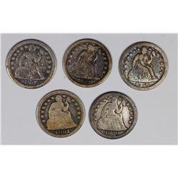 SEATED DIMES: 1852, 1851-O, 1850-O, 1850 AND 1851