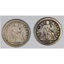 SEATED DIMES: 1856 LARGE DATE & 1856-O VG