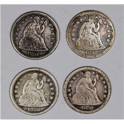 SEATED DIMES: 1857, 1857-O, 1858 AND 1858-O.