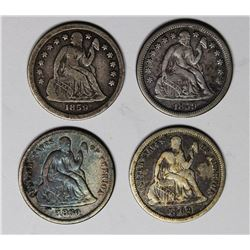 SEATED DIMES: 1859, 1859-O, 1860 AND 1862