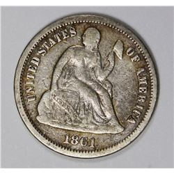 1861-S SEATED DIME VG/FINE VERY RARE!