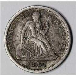 1864-S SEATED DIME VG/FINE VERY RARE!