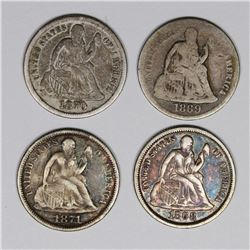 SEATED DIMES: 1868, 1869-S, 1870, AND 1871