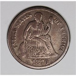 """1870-S SEATED DIME FINE. STRONG """"LIBERTY"""" RARE"""
