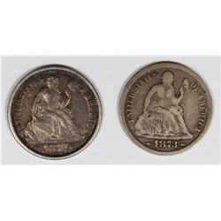 SEATED DIME 1873-S VG & 1874 XF