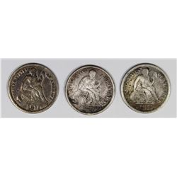 SEATED DIMES: 1875 AND (2) 1875-CC