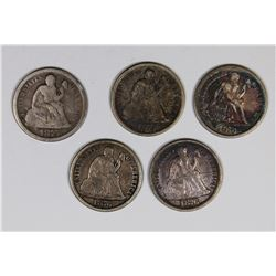 SEATED DIMES: (2) 1875-S, 1876, 1876-CC AND 1876-S