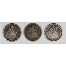 SEATED DIMES: 1877, 1877-S AND 1877-CC.
