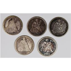 SEATED DIMES: 1878, 1882, 1883, 1884 & 1884-S
