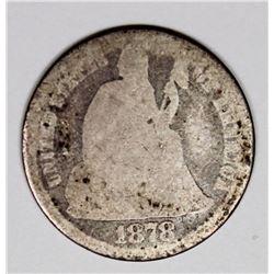 1878-CC SEATED DIME AG RARE