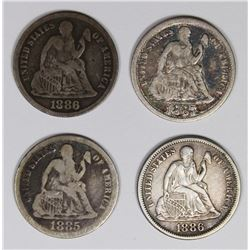 SEATED DIMES: 1885, 1886, 1886-S AND 1887