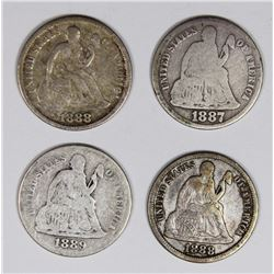 SEATED DIMES: 1887-S, 1888, 1888, 1888-S AND 1889