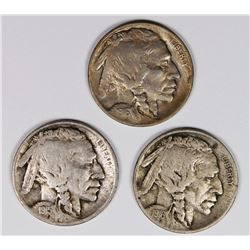 BUFFALO NICKELS: 1915-S, 1916 AND 1916-D