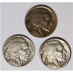 BUFFALO NICKELS: 1916-S, 1917 AND 1917-D