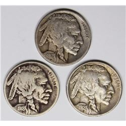 BUFFALO NICKELS: 1917-S, 1918 AND 1918-D