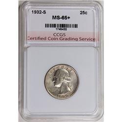 1932-S WASHINGTON QUARTER CCGS SUPBER GEM RARE!