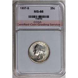 1937-S WASHINGTON QUARTER CCGS SUPERB GEM