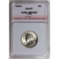 1938-D WASHINGTON QUARTER CCGS SUPERB GEM BU
