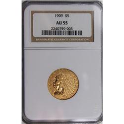 1909 $5 GOLD INDIAN NGC AU 55 NICE!