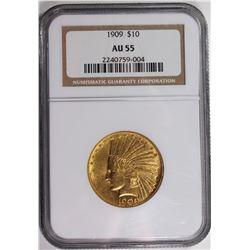 1909 $10 GOLD INDIAN NGC AU 55 NICE!