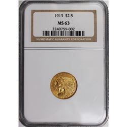 1913 $2.5 GOLD INDIAN NGC MS 63