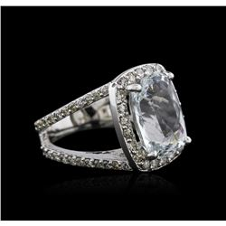 14KT White Gold 7.07 ctw Aquamarine and Diamond Ring