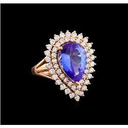 14KT Rose Gold 6.32 ctw Tanzanite and Diamond Ring