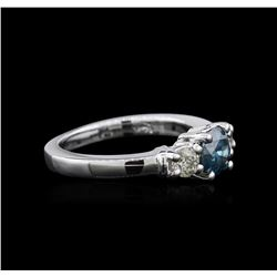 14KT White Gold 1.01 ctw Blue Diamond Ring