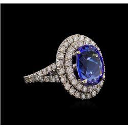 14KT White Gold 5.56 ctw Tanzanite and Diamond Ring