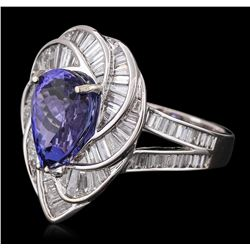 18KT White Gold 5.36 ctw Tanzanite and Diamond Ring