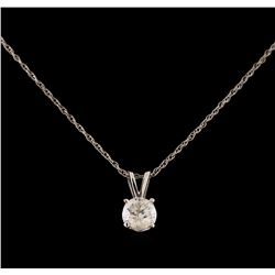 14KT White Gold 0.44 ctw Diamond Pendant With Chain