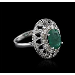14KT White Gold 2.60 ctw Emerald and Diamond Ring