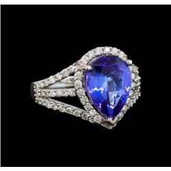 18KT White Gold 3.44 ctw Tanzanite and Diamond Ring