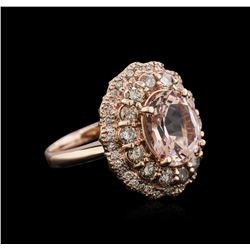 14KT Rose Gold 3.13 ctw Morganite and Diamond Ring
