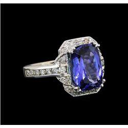 14KT White Gold 5.42 ctw Tanzanite and Diamond Ring