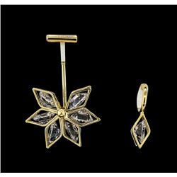 Snow Flake Crystal Earrings - Gold Plated