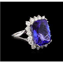 14KT White Gold 13.13 ctw GIA Certified Tanzanite and Diamond Ring