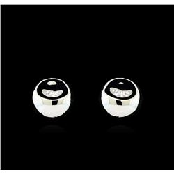 Glossy and Satin Round Post Earrings - Rhodium Plated