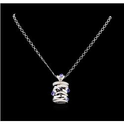 14KT White Gold 3.60 ctw Tanzanite and Diamond Pendant With Chain