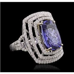 14KT Yellow and White Gold 8.13 ctw Tanzanite and Diamond Ring