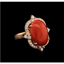 14KT Rose Gold 7.57 ctw Pink Coral and Diamond Ring