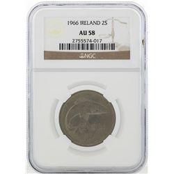 1966 Ireland Eire Floirin 2 Shilling Coin NGC AU58
