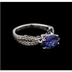 14KT White Gold 1.60 ctw Tanzanite and Diamond Ring