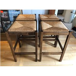 SET OF 4 KITCHEN ISLAND STOOLS WITH BASKET WEAVE SEATS