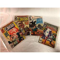 GR OF 4, MARVEL COMICS - CONAN, WILLOW NO 1, CRYSTAR NO 2