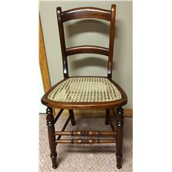 ANTIQUE CANE SEAT CHAIR, WALNUT FINISH