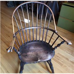 ANTIQUE SPINDLE BACK CAPTAINS CHAIR WITH CLAW HAND GRIPS